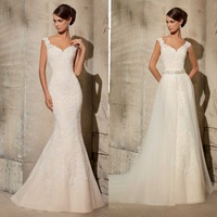 Charming Mermaid Wedding Dresses V Neck Sexy See Through Back Floor Length with Removable Skirt Lace Bridal Dress Custom Made