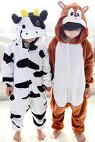 Free shipping animals Hooded Pyjama Cosplay Costumes squirrel cow Children Flannel sleepwears