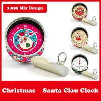 2015 New Year Red Color Santa Clau Gifts Clocks Magnetic Wall Clocks in Magnetic Table Desk Clock Mix Design Moq 100PCS