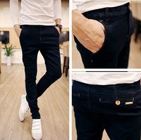 Free Shipping new men clothing skinny for men pencil Casual pants Leisure homens calcas pure black plus size28-36 #ZJJ102