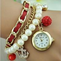 Rhinestone Luxury Brand Quartz Watches Casual Women Dress Watch,Fashion Pearl Bracelet Wristwatches Anchor Pandent,Relojes Mujer