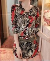 m-xxl New 2014 spring STAND neck chiffon blouse women's long sleeve flower printed Casual shirt clothing blusas femininas