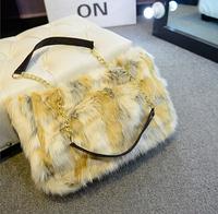 women's handbag faux fur bags velvet shoulder bags women bag ladies chain purse black beige purple white