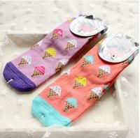 's socks wholesale manufacturers of South Korea cute cartoon rainbow ice cream dispensing cotton socks for men and women