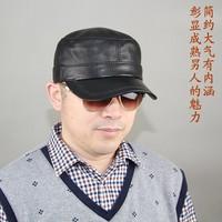 2014 brief fashion genuine leather hat sheepskin quinquagenarian cadet military cap hat male
