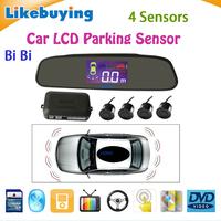 Three BiBi sound Car LCD Parking Sensor Kit Backlight Display Radar Monitor System 12V 4 Sensors Free Shipping High Quality