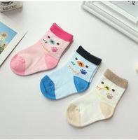 A793 children's socks wholesale Korea cute candy colored bear head foot paw print cotton socks baby socks