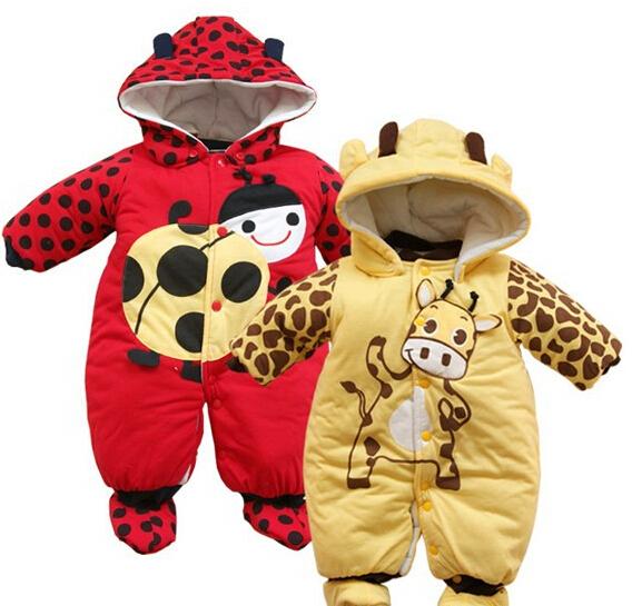 new Autumn Winter Clothing sets Cartoon Animal Style Cotton-padded Baby boys Rompers Ladybug And Cows Warm Kids girls badysuit(China (Mainland))