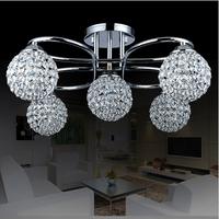 Modern minimalist K9 crystal Ceiling Lights 5 head iron crystal lamp  bedroom living room restaurant crystal Ceiling Lights