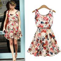 Women Casual Vestido New Desigual Apricot Sleeveless Round Neck Flower Print Pleated Dress 2015 Saias Party Vestidos Femininas