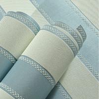 Blue Fabric Striped Wallpaper Roll  Sofa Background   listrado papel de parede para sala zk12