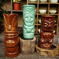 Hot Sales Popular Home Decoration Bar Creative Ceramic Cocktail Tiki Mug Hawaii Home Decoration Holiday Gift