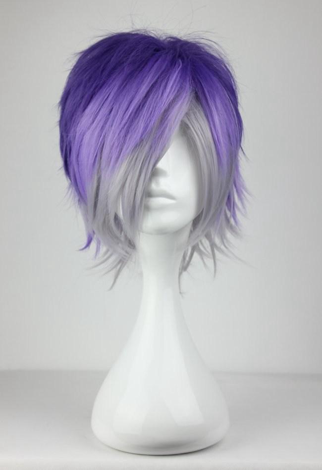 32cm Mens Short Wig Anime Cosplay Diabolik Lovers Mixed Color Hair Wigs(China (Mainland))