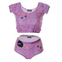 Adventure Time 2015 New Design Women Swimming Tankini Lumpy Space Princess Sexy Sport Tops Biquini Feminino S125-179