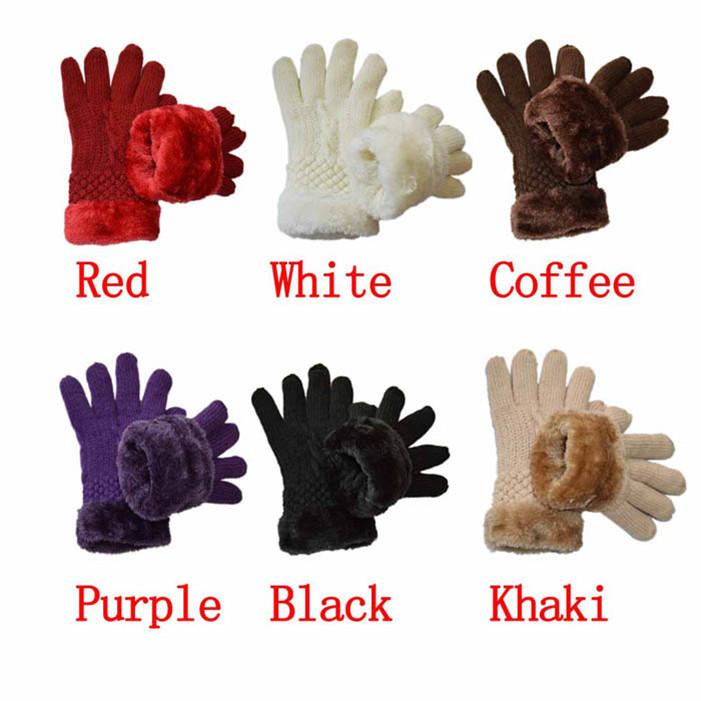 """Stylish Fashion Women""""s Warm Winter Knit Gloves Mittens One Size Fur Lining(China (Mainland))"""