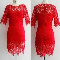 Hot Lace Dress 2014 New Fashion Dress Women Short Sleeve Bodycon Dress Knee Length O-Neck Paty Dress Plus Size Red White Black