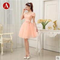 Lovely Pink Bridesmaid dress 2015 Women's Flowers waist short design sisters Formal Party Dresses