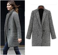 2014 Fashion  Design New Spring/Winter Trench Coat Women Grey Medium Long Oversize Warm Wool Jacket European Overcoat plus size