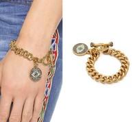 Hot New Design Gold Jewerly Women Charm Bracelet & Bangles Luxury Female Brand Rhinestone Eyes Pendant Bracelets Jewelry