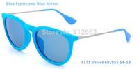 Free shipping fashion woman / man retro brand 4171 / 6079/55 / 54mm sunglasses Erika Velvet sky blue frame glasses
