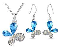 2015 New Fashion Butterfly Cz Crystal Rhinestone Necklace Earrings Jewelry Set for Women Wedding Jewelry Set Free Shipping