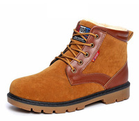 Plus size men boots Winter leather work boot snow ankle flats man casual shoes man lace-up sneaker driver hiking 39-44