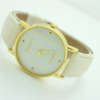 2014 New fashion Classic Geneva Stripes Print PU Leather Woman girl Analog Quartz Wrist Watches women casual watch digital watch