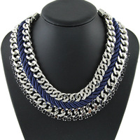 New Fashion Designer Pattern Chunky Bib Collar Blue Braided Rope Necklace & Pendant Silver Statement Necklace For Women NK847