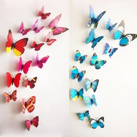 2014 new 12pcs 3D Butterfly Wall Stickers Butterflies Decors For Home Fridage Wall Room Decoration Gossip Girl Same Style
