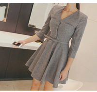 6455 fall winter clothes new women high waist half sleeve V-neck dress flounced bottoming dresses with Belt
