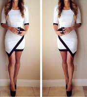 2015 Spring Summer Europe&America Style Women Hit Color Black White Patchwork Irregular Dresses Sexy Package Hip Bodycon Dress