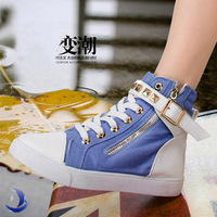 2015 spring new Classic women's canvas shoes Fashion zipper and buckle girls Height Increasing high top boots / sneakers