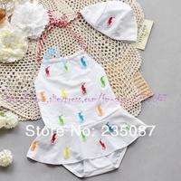 Retail (0-4Y) wholesale Baby Girls Swimwear Girls Swimwear Spa white one-piece swimsuit embroidery pattern horse Baby Beachwear