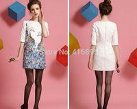 Summer dress 2014 Ladies dresses European Style Giraffe printed Short-Sleeved Casual Dress Plus Size Vestidos S/M/L/XL  12011406