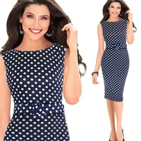 2014 New include belt Sleeveless Women Casual Dress Elegant Party Evening Vintage Polka Dot Summer Dresses Size S M L XL