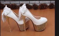 Fashion Women Pumps Red Bottom High Heels Sweet Princess Bow Shoes Round Toe Party Wedding Platform Pumps EUR Size 34-40