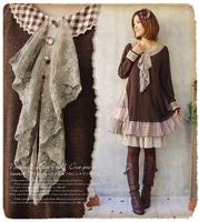 Forest mori girl lolita girl winter basic dress loose cravat asymmetrical one-piece knitted lace dress vestido oncinha faldas