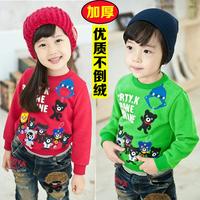 Children's clothing child thickening plus velvet thermal clothing basic shirt sweatshirt winter t-shirt