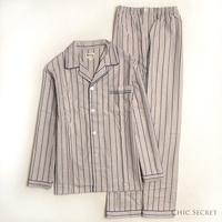 End of a single stripe cotton 100% Men cotton sleepwear lounge set autumn and winter