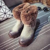 2014 winter Human-fur boots fashion platform high-heeled shoes thick heel martin boots female