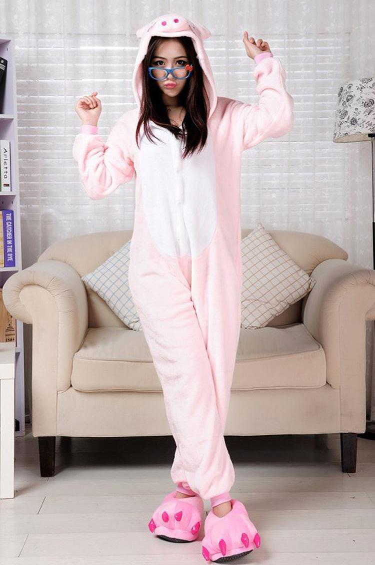 взрослых onesie унисекс теплое животных свиньи пижамы косплей костюм пижамы s-xl новые для пижамы фланелевые