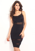 Sexy Casual Party Dresses Petite Cami with Mesh Insert New Style Summer Midi Dress for Women Free Shipping B4927 Eshow
