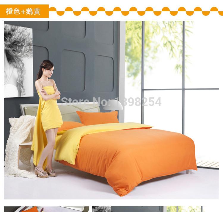 Cor laranja 4 pcs Bedding Set Full / Queen / King Size linho Set / cama lençol / roupas de cama / Set capa de edredão grátis frete(China (Mainland))