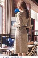 New Arrival vestido Khaki Twist Patterned High Neck Long Sleeve Sweater Dress roupas femininas FREE SHIPPING