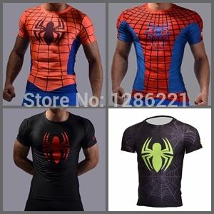 New 2015 Men Sport T-Shirt spider man mma rash guard Layers Under Tops T Shirts Sport Bodybuilding Fitness Running Slim Fit Tees()