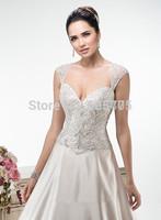 Vintage Bead Ball Gown Wedding Dresses 2015 vestidos de novia corto Women Bridal Gowns With Long Train