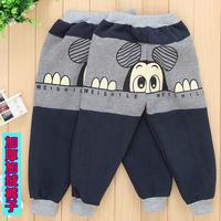 Baby legging autumn and winter thickening male child trousers plus velvet winter children's pants