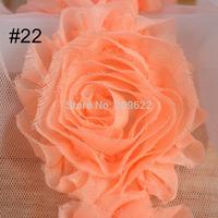 3D Shabby Chic Flowers Trim, Flower Sewing Lace Fabric , Chiffon Flower Trims Decoration