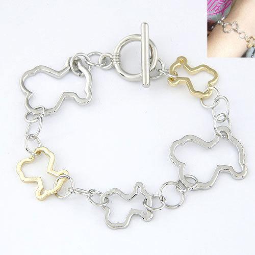2015 Metal Teddy Bear Shape Bracelets Gold Silver Color Bracelets for Women Men pulseiras feminina masculina