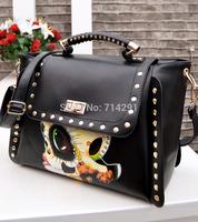 2014 women's handbag vintage fashion personality shoulder bag rivet bag all-match print messenger bag free shipping
